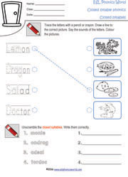 Worksheets Open And Closed Syllables Worksheets 2nd Grade esl phonics world open and closed syllable worksheets worksheet