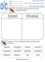 ESL Phonics World | Open and Closed Syllable Worksheets