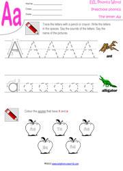 letter a preschool worksheet