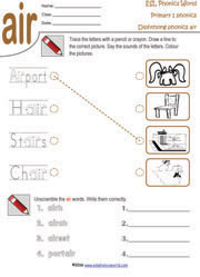 diphthong-air-worksheet